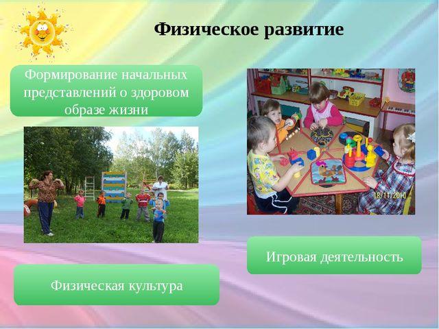 Физическое развитие Формирование начальных представлений о здоровом образе жи...