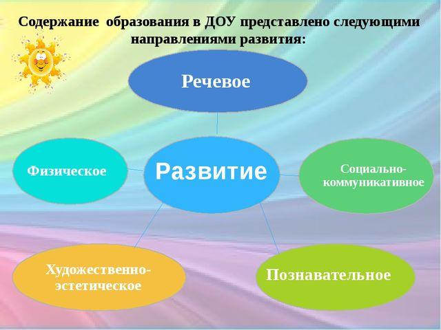Содержание образования в ДОУ представлено следующими направлениями развития:...
