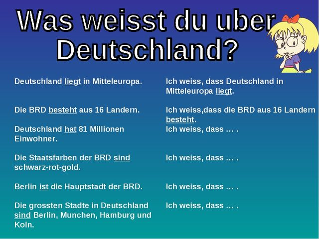 Deutschland liegt in Mitteleuropa. Die BRD besteht aus 16 Landern. Deutschlan...