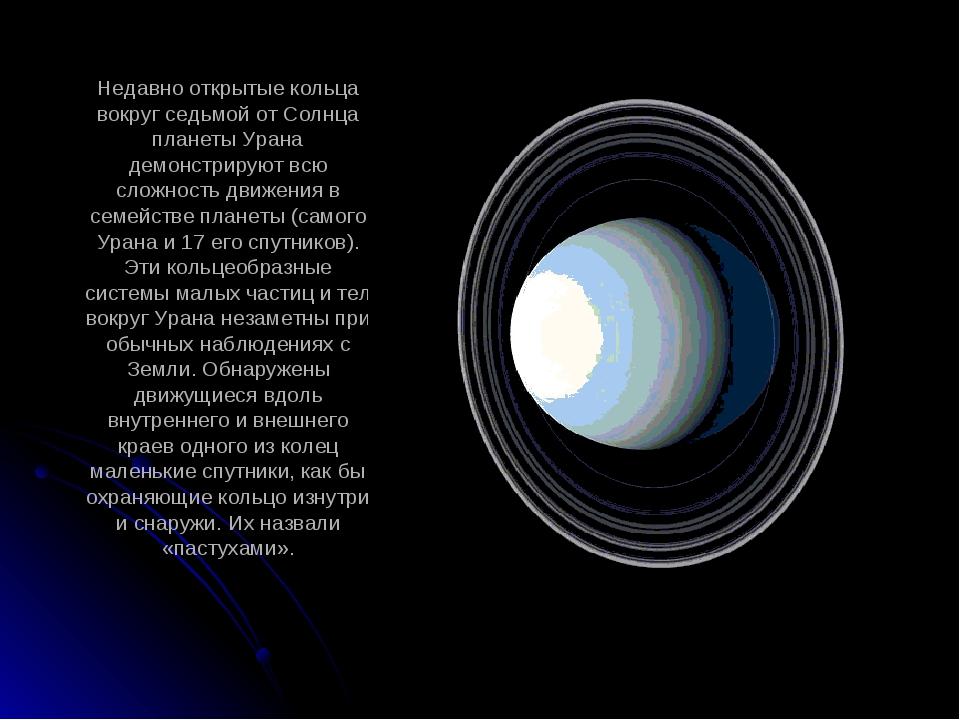 Недавно открытые кольца вокруг седьмой от Солнца планеты Урана демонстрируют...