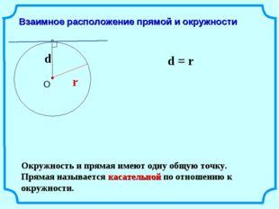 Взаимное расположение прямой и окружности r d = r Окружность и прямая имеют о