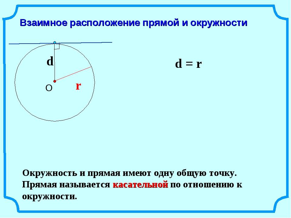 Взаимное расположение прямой и окружности r d = r Окружность и прямая имеют о...