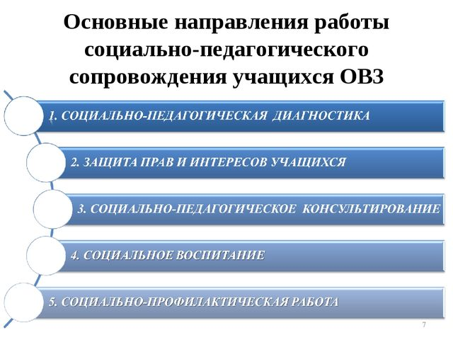 Основные направления работы социально-педагогического сопровождения учащихся...