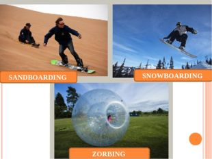 SANDBOARDING SNOWBOARDING ZORBING