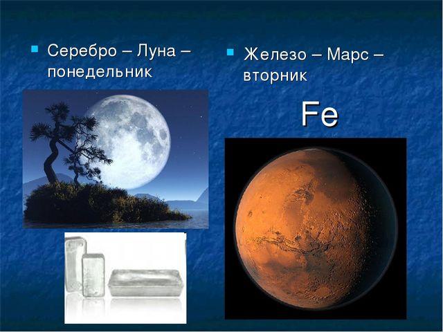 Серебро – Луна – понедельник Железо – Марс – вторник Fe