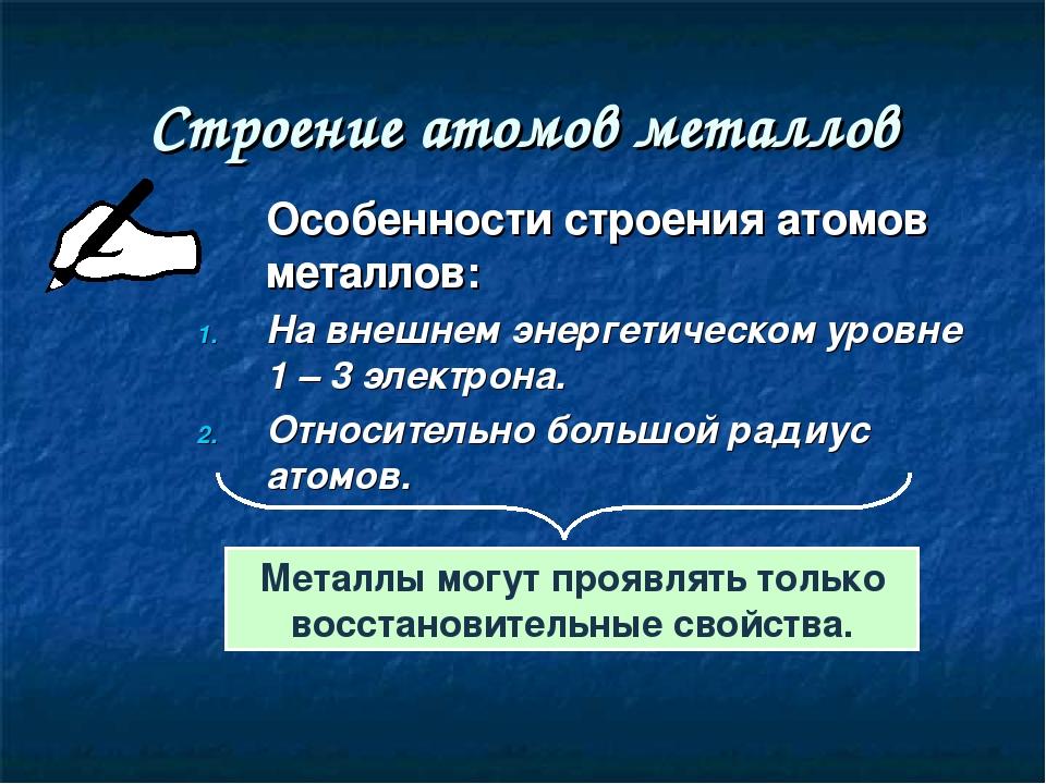 Строение атомов металлов Особенности строения атомов металлов: На внешнем эн...