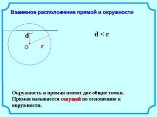 Взаимное расположение прямой и окружности d r d < r Окружность и прямая имеют