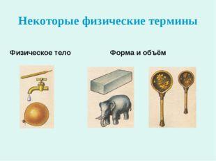 Некоторые физические термины Физическое тело Форма и объём