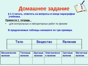 Домашнее задание § 1-3 читать, ответить на вопросы в конце параграфов учебник