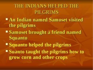 THE INDIANS HELPED THE PILGRIMS An Indian named Samoset visited the pilgrims