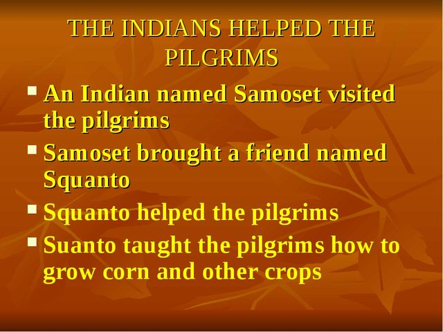 THE INDIANS HELPED THE PILGRIMS An Indian named Samoset visited the pilgrims...
