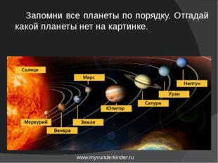 www.myvunderkinder.ru Запомни все планеты по порядку. Отгадай какой планеты