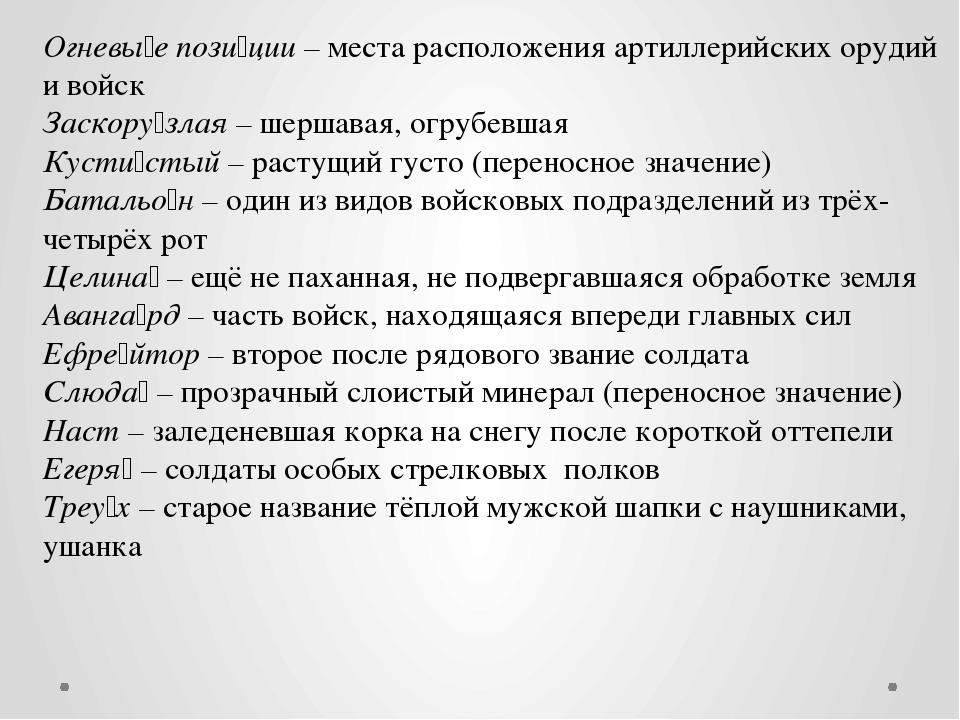 Огневы́е пози́ции – места расположения артиллерийских орудий и войск Заскору́...