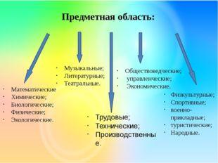 Предметная область: Математические Химические; Биологические; Физические; Эко