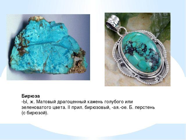 Бирюза -Ы, ж. Матовый драгоценный камень голубого или зеленоватого цвета. II...