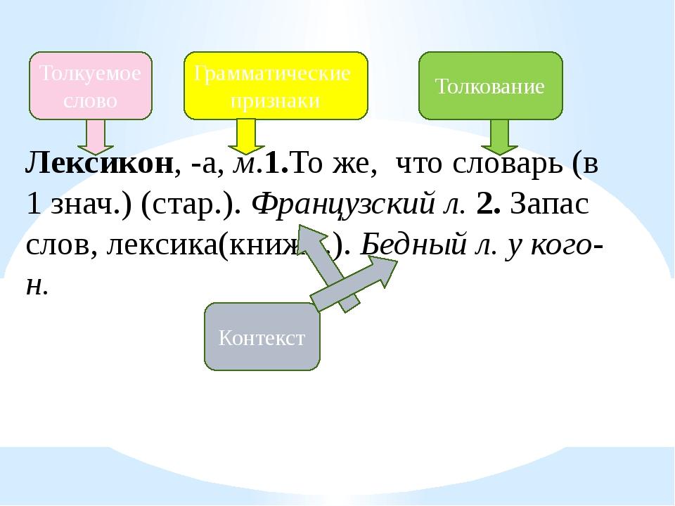 Лексикон, -а, м.1.То же, что словарь (в 1 знач.) (стар.). Французский л. 2. З...