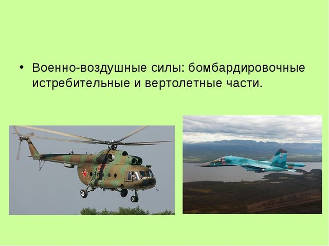 Военно-воздушные силы: бомбардировочные истребительные и вертолетные части.