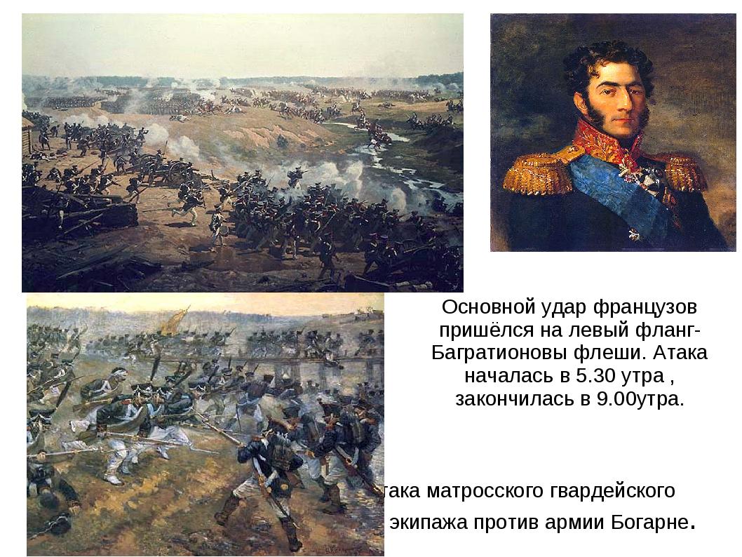 Основной удар французов пришёлся на левый фланг- Багратионовы флеши. Атака на...