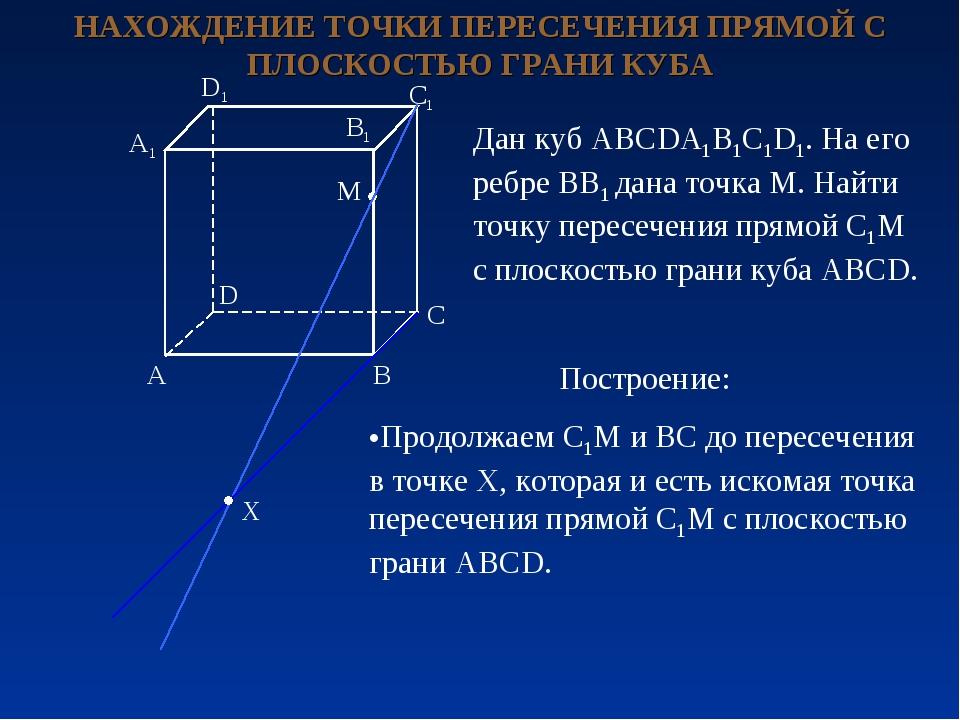 НАХОЖДЕНИЕ ТОЧКИ ПЕРЕСЕЧЕНИЯ ПРЯМОЙ С ПЛОСКОСТЬЮ ГРАНИ КУБА Дан куб ABCDA1B1C...