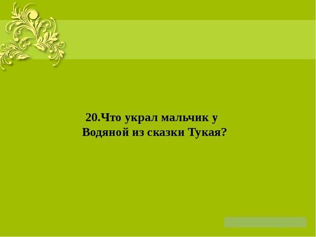 20.Что украл мальчик у Водяной из сказки Тукая?