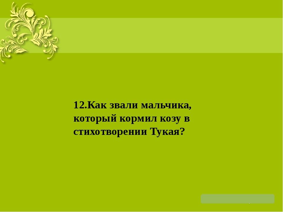 12.Как звали мальчика, который кормил козу в стихотворении Тукая?