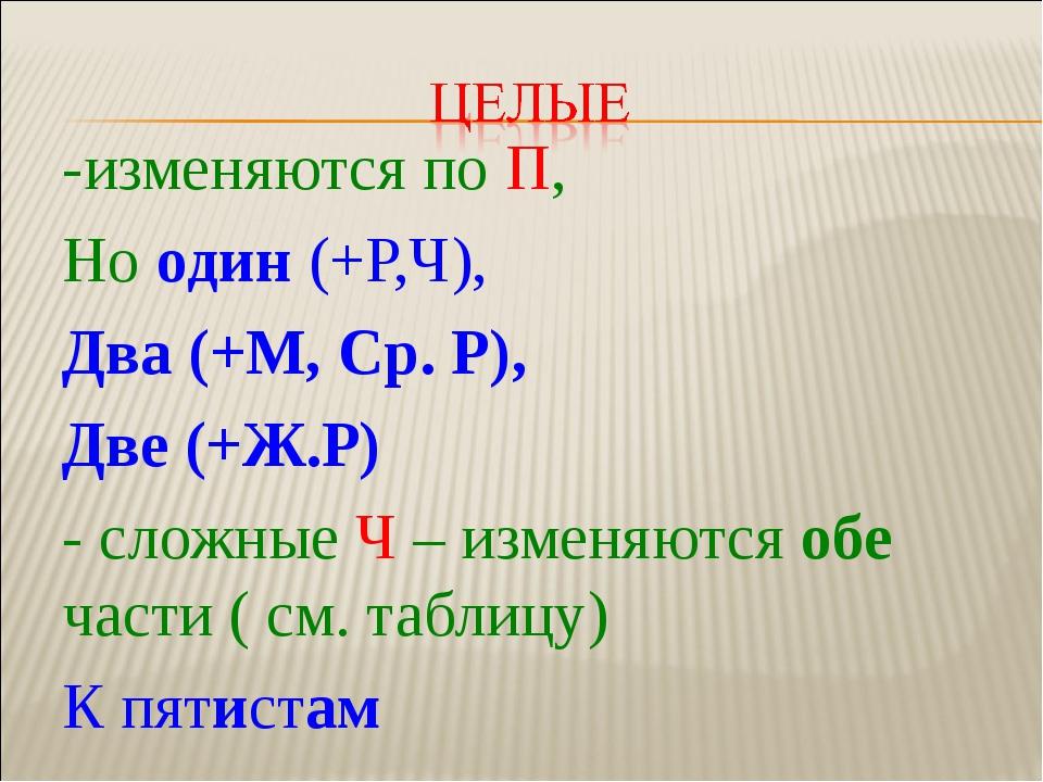 -изменяются по П, Но один (+Р,Ч), Два (+М, Ср. Р), Две (+Ж.Р) - сложные Ч – и...
