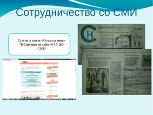 Сотрудничество со СМИ Статья в газете «Сельская новь» Публикация на сайте МБУ