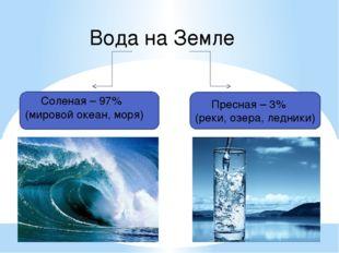Соленая – 97% (мировой океан, моря) Вода на Земле Пресная – 3% (реки, озера,