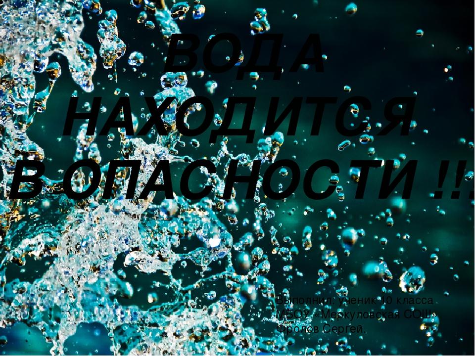 ВОДА НАХОДИТСЯ В ОПАСНОСТИ !!! Выполнил: ученик 10 класса МБОУ «Меркуловская...