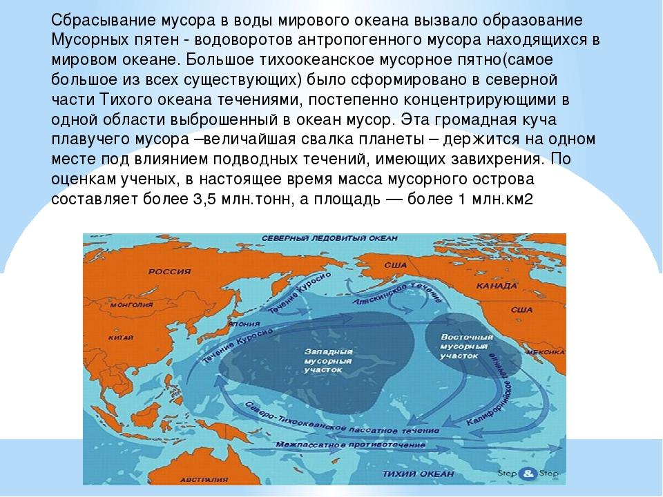 Сбрасывание мусора в воды мирового океана вызвало образование Мусорных пятен...