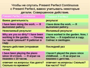 Чтобы не спутатьPresent Perfect Continuous сPresent Perfect, важно учитыват