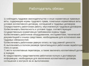 Работодатель обязан: 1) соблюдать трудовое законодательство и иные нормативны