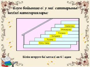 Блум бойынша оқу мақсаттарының негізгі категориялары: Білім игеруге бағыттал