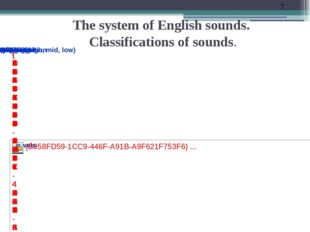 The system of English sounds. Classifications of sounds.