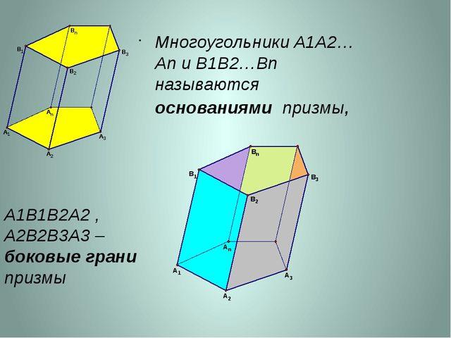 Многоугольники A1A2…An и B1B2…Bn называются основаниями призмы, A1В1В2А2 , A2...