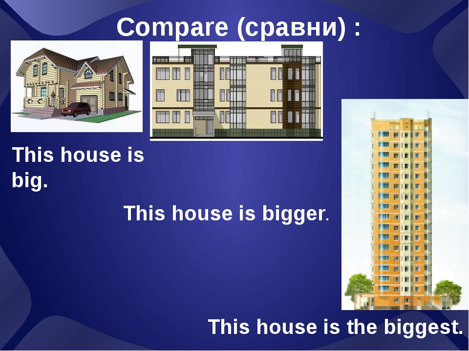 This house is big. Compare (сравни) : This house is bigger. This house is the...