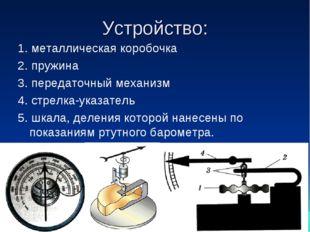 Устройство: 1. металлическая коробочка 2. пружина 3. передаточный механизм 4.