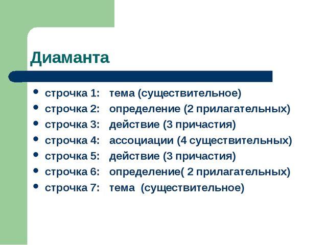 Диаманта строчка 1: тема (существительное) строчка 2: определение (2 прилагат...