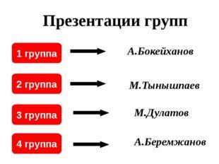 1 группа 2 группа 3 группа 4 группа А.Бокейханов М.Тынышпаев М.Дулатов А.Бере
