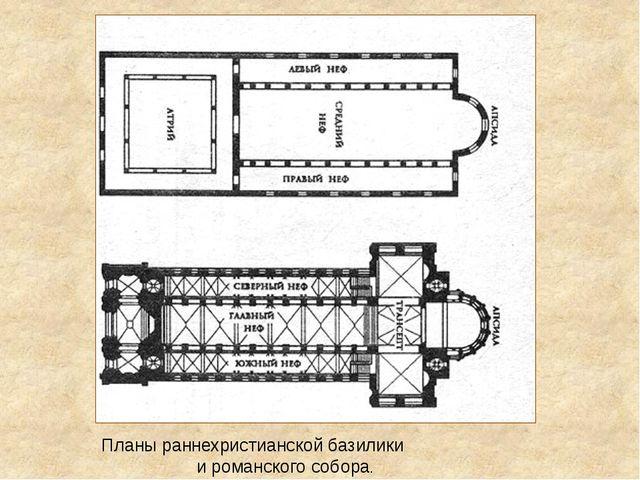 Планы раннехристианской базилики и романского собора.
