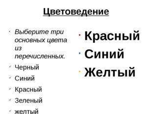 Цветоведение Выберите три основных цвета из перечисленных. Черный Синий Красн