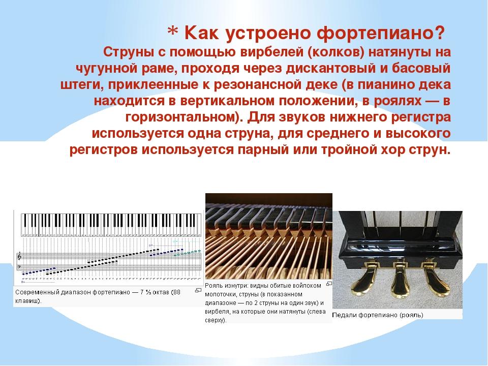 Как устроено фортепиано? Струны с помощью вирбелей (колков) натянуты на чугун...