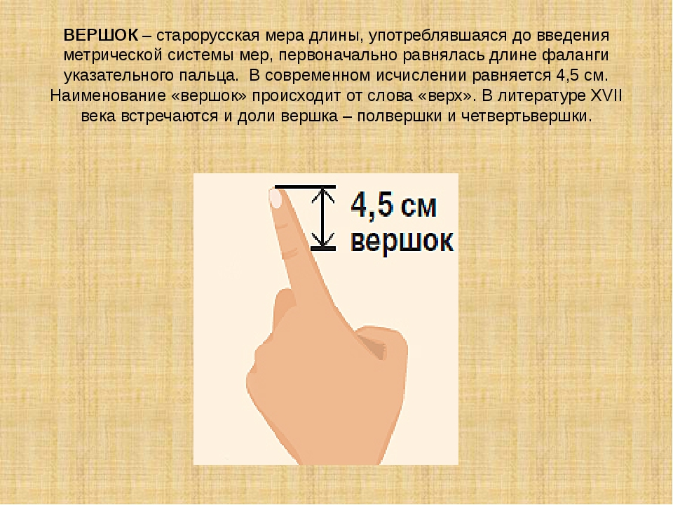 ВЕРШОК – старорусская мера длины, употреблявшаяся до введения метрической сис...