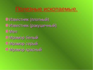 Полезные ископаемые. Известняк (плотный) Известняк (ракушечный) Мел Мрамор бе