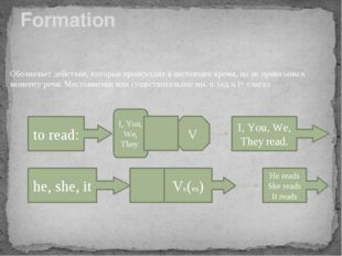 Formation Обозначает действия, которые происходят в настоящее время, но не пр