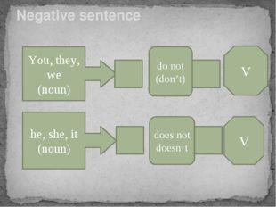Negative sentence You, they, we (noun) do not (don't) V he, she, it (noun) do