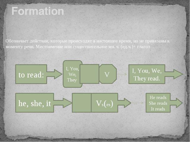 Formation Обозначает действия, которые происходят в настоящее время, но не пр...