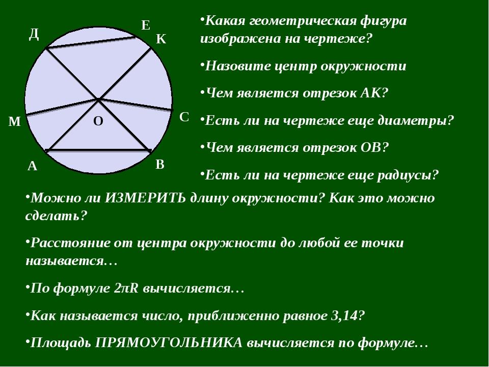 Какая геометрическая фигура изображена на чертеже? Назовите центр окружности...