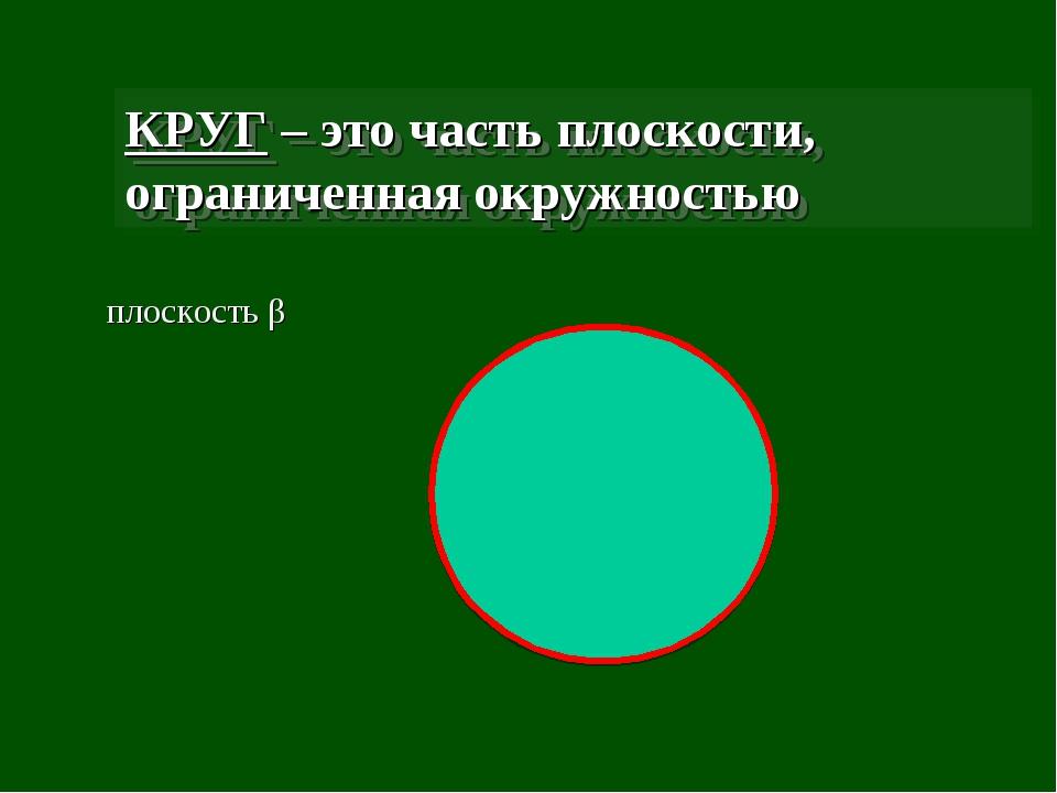 КРУГ – это часть плоскости, ограниченная окружностью плоскость β