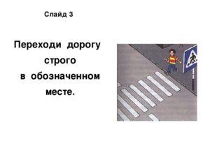 Слайд 3 Переходи дорогу строго в обозначенном месте.